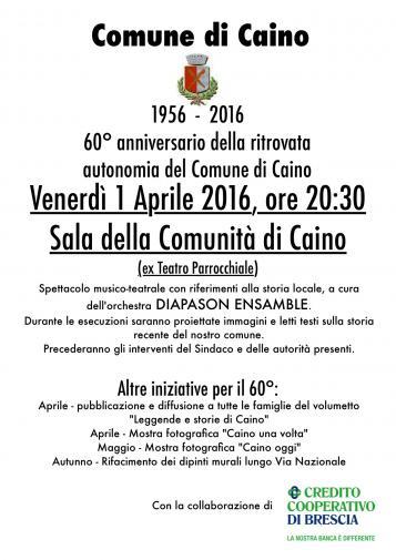 60°anniversario della ritrovata autonomia del comune di Caino