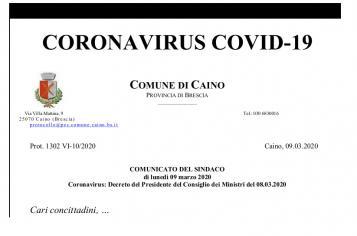 Coronavirus Comunicato del Sindaco