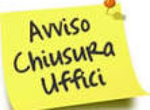 CHIUSURA UFFICI DEMOGRAFICI  (ANAGRAFE-STATO CIVILE-ELETTORALE)